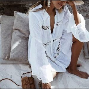 The KEELY Cotton Crocheted Inlay Button Down Dress
